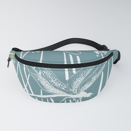 Minimal Art Flower Field Dragonflies Blue Fanny Pack