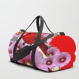 MODERN  RED ART PINK HOLLYHOCKS & RED CARDINAL BIRD Duffle Bag