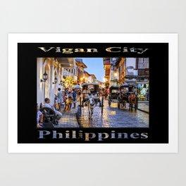 Rush Hour in Vigan City (on black) Art Print