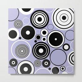 Geometric black and white circles on pastel blue Metal Print