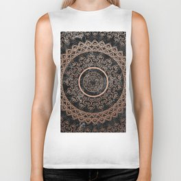 Mandala - rose gold and black marble Biker Tank