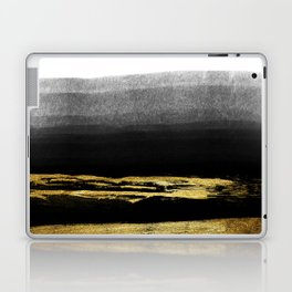 Black & Gold Stripes on White - Mix & Match with Simplicty of life Laptop & iPad Skin