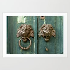 Lion heads of precious metal Art Print