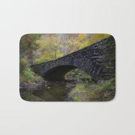 Laurel Creek Bridge - Autumn Colors Surround a Stone Bridge in Smoky Mountains Bath Mat