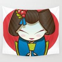 geisha Wall Tapestries featuring Geisha by Sara Penco