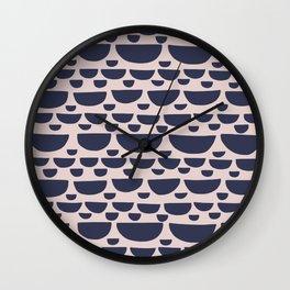 Half moon horizontal geometric print - Navy Wall Clock