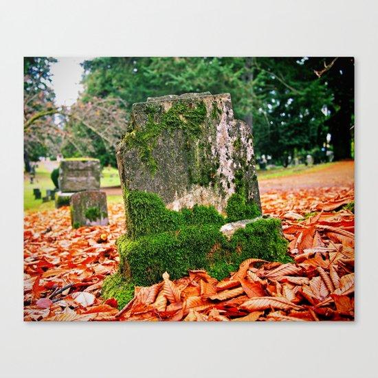 Autumn gravestone Canvas Print