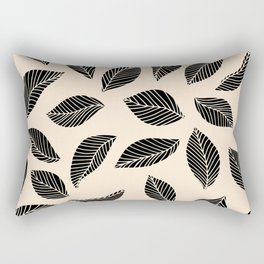 Falling Leaves in black and ivory Rectangular Pillow