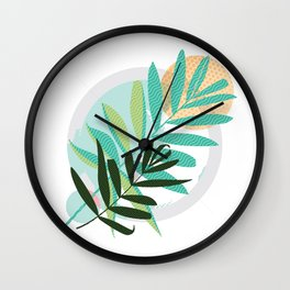 Abstract colored modern Greeting card with leaves Wall Clock
