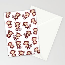 pattern with funny brown monkey boys and girls on white background. Vector illustration Stationery Cards