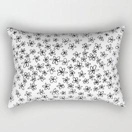 Flowers on White Rectangular Pillow