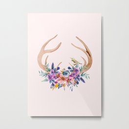 Antlers with Flowers Metal Print