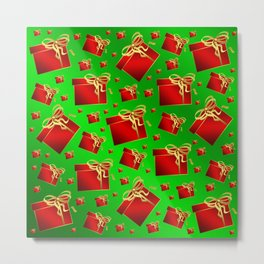 many little red gifts with golden bow on green Metal Print