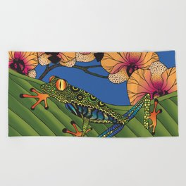 Tree Frog with Orchids Beach Towel