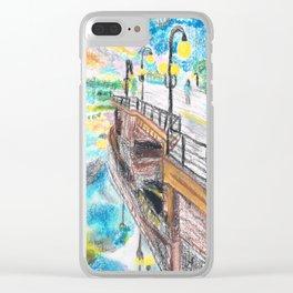 El cielo reflejado bajo un puente Clear iPhone Case