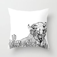 bison Throw Pillows featuring Bison  by ARI(Sunha Jung)