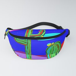 A Southwest Desert Scene at Night with Stars Fanny Pack
