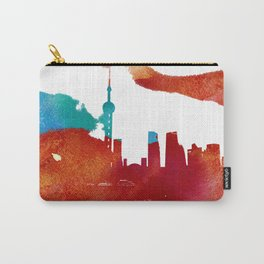 Shanghai skyline. Watercolor texture. Carry-All Pouch