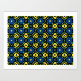 Blue and yellow floral vines Art Print