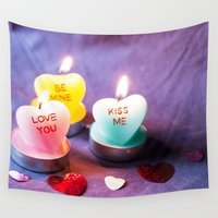 valentines Wall Tapestries featuring Valentines Candles  by Griffing Designs, LLC