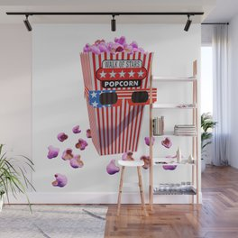 Pink Candy Popcorn and 3D Movie glasses Wall Mural