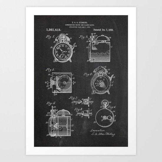 Watch And Alarm Clock Patent Art Print