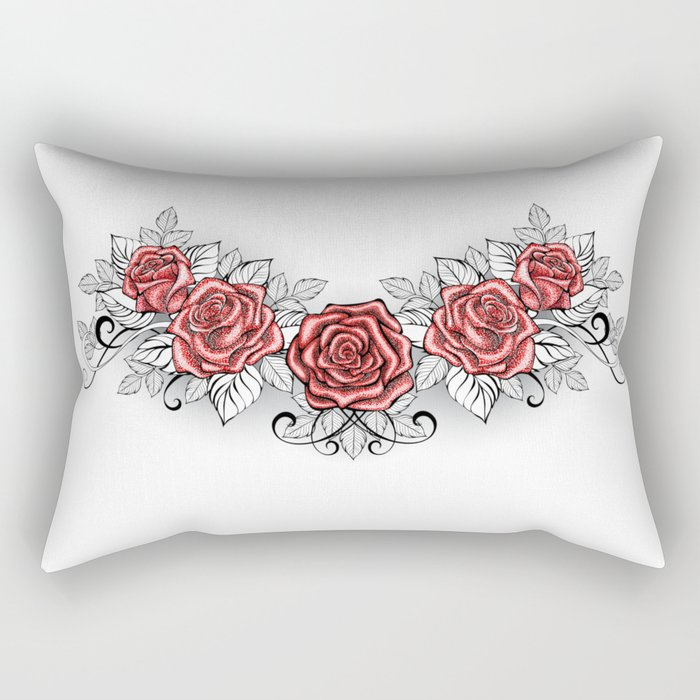 Dotwork Red Roses Tattoo Rectangular Pillow