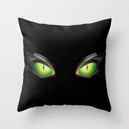 Cat Green Eyes Throw Pillow