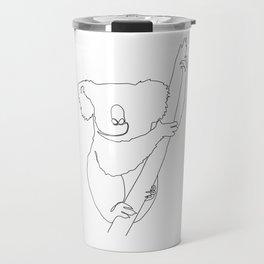 Minimal Line Art Koala Travel Mug