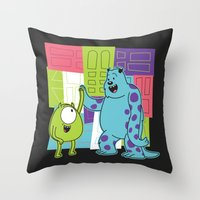 monster inc Throw Pillows featuring Monster Time by Moysche Designs