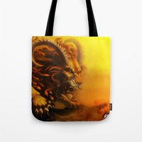 fierce Tote Bags featuring Fierce by Armored Collective
