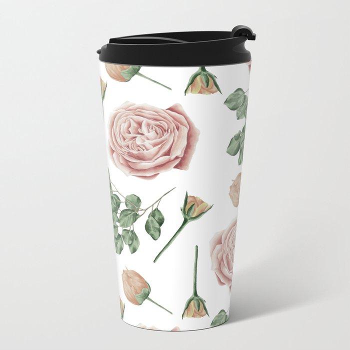 Flower Shop Roses Pattern White Metal Travel Mug