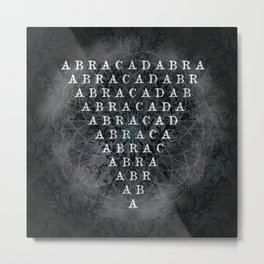 Abracadabra Reversed Pyramid in Charcoal Black Metal Print