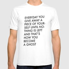 HOW TO BECOME A GHOST Mens Fitted Tee White SMALL
