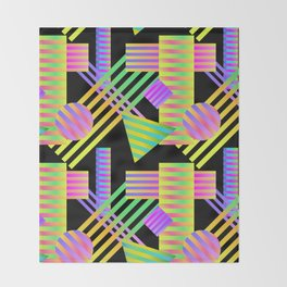 Neon Ombre 90's Striped Shapes Throw Blanket