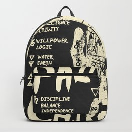 Palmistry, chiromancy. White on a blackboard background. Backpack