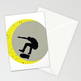 Skateboard Kick Flip OnThe Moon Silhouet Skateboarder Stationery Cards