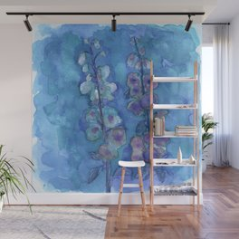 Blue Hollyhock Foxglove Minimalist Watercolor Wall Mural
