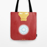 iron man Tote Bags featuring Iron Man by Steal This Art