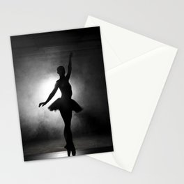 Silhouette of a ballerina with smoke in black and white Stationery Cards