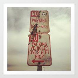 No Parking at the beach Art Print
