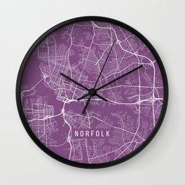 Norfolk Map, USA - Purple Wall Clock