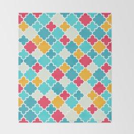 Quatrefoils in turquoise, multicolor Throw Blanket