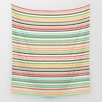stripe Wall Tapestries featuring pop stripe by Sharon Turner