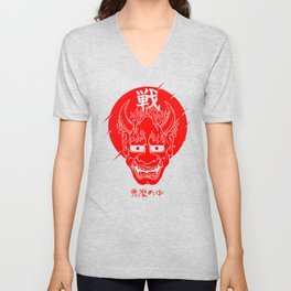 Japanese demon ONI face WARRIOR SPIRIT mask devil inside Unisex V-Neck