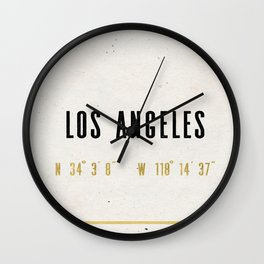 Vintage Los Angeles City Gold Foil Location Coordinates with map Wall Clock