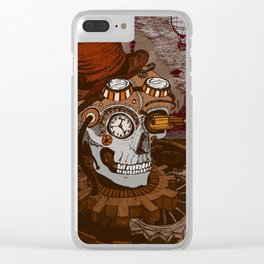 Steampunk Skull Clear iPhone Case