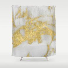 Marble - Yellow Gold Marble Foil on White Pattern Shower Curtain