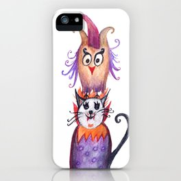 Owl and Cat Halloween Friends iPhone Case
