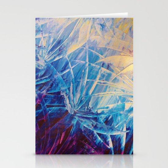 NIGHT FLOWERS - Beautiful Midnight Florals Feathers, Eggplant Lilac Periwinkle Cream Modern Abstract Stationery Cards